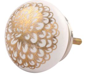 Golden Carnation Flower Flat Ceramic Drawer Knob