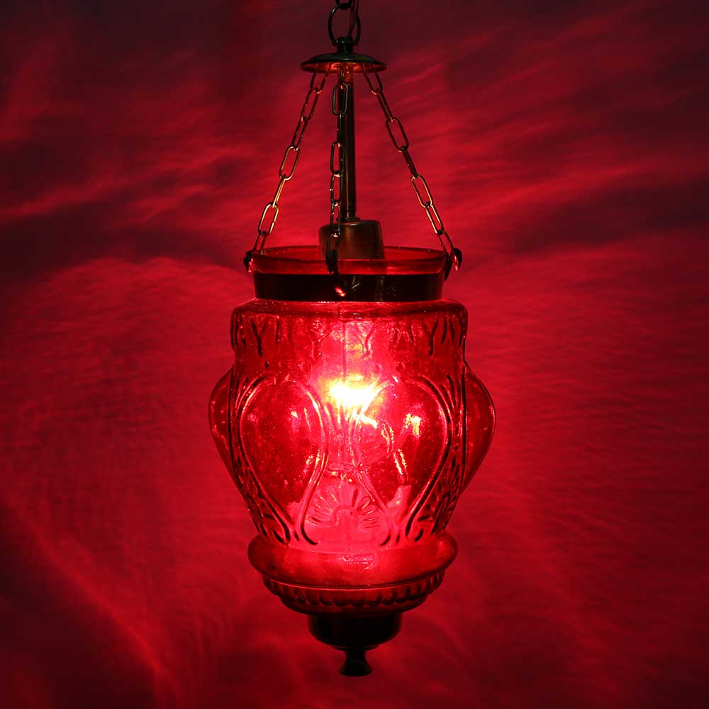 Red Hanging glass light fixture Small Lamp
