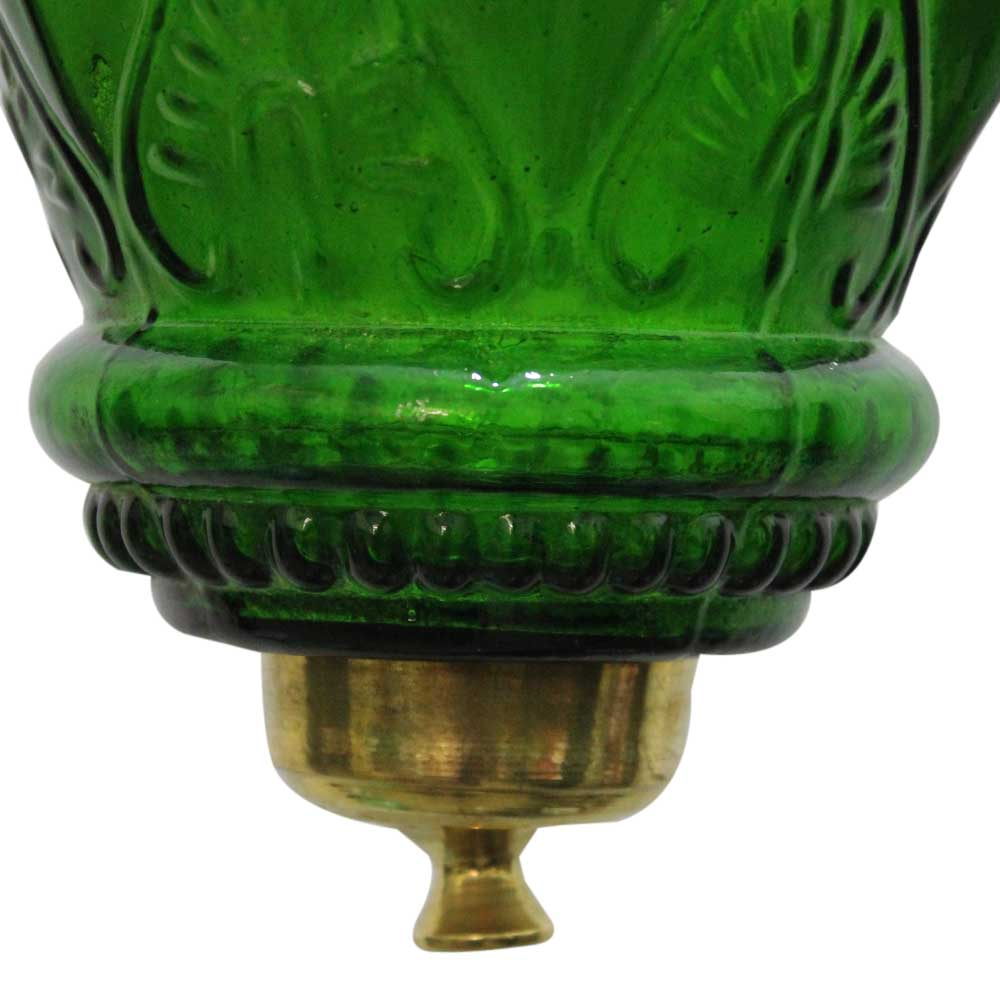 Green Hanging glass light fixture Small Lamp