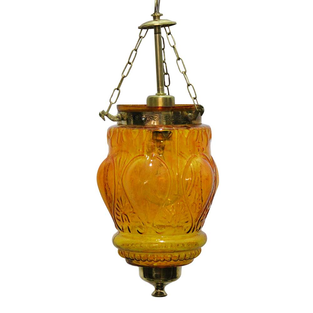 Amber Hanging glass light fixture Small Lamp