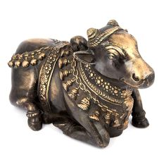 Black Brass Sitting Nandi Figurine
