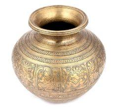 Brass  Hand Engraved Ganga Jamuna Pot