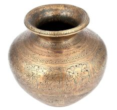 Brass Etched Hand Crafted Water Pot