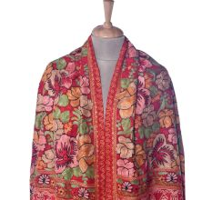 Red Floral Jamavar Pashmina Shawl