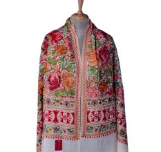 White Floral Jamavar Pashmina Shawl