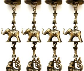 Brass Vintage Chain With Elephant, Oil Lamp and Peacock Figurine(Set Of 4 Pieces)