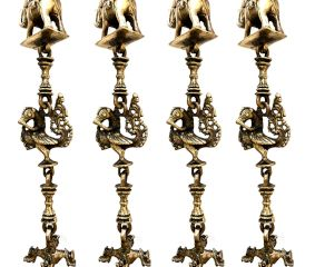 Swing Chain Set with Peacock and Elephants Statue(Set Of 4 Pieces)