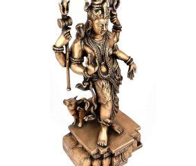 Brass Standing Shiva Nandi Worship Statue