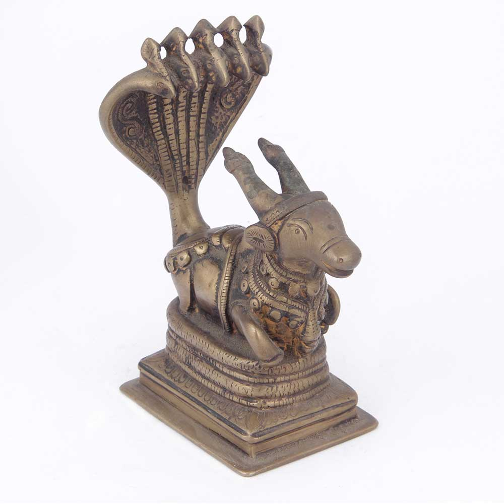 Bronze Nandi Canopied by Sheshnag