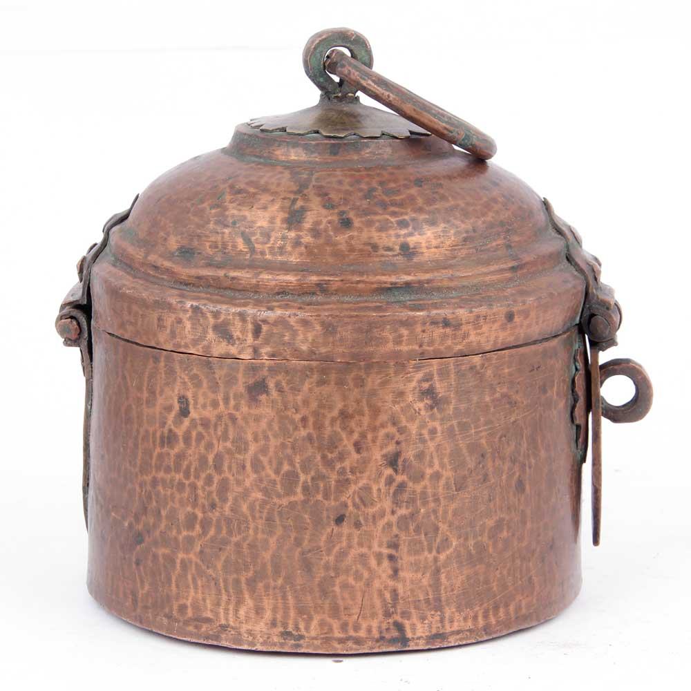 Vintage Copper Hut Shaped Storage Box