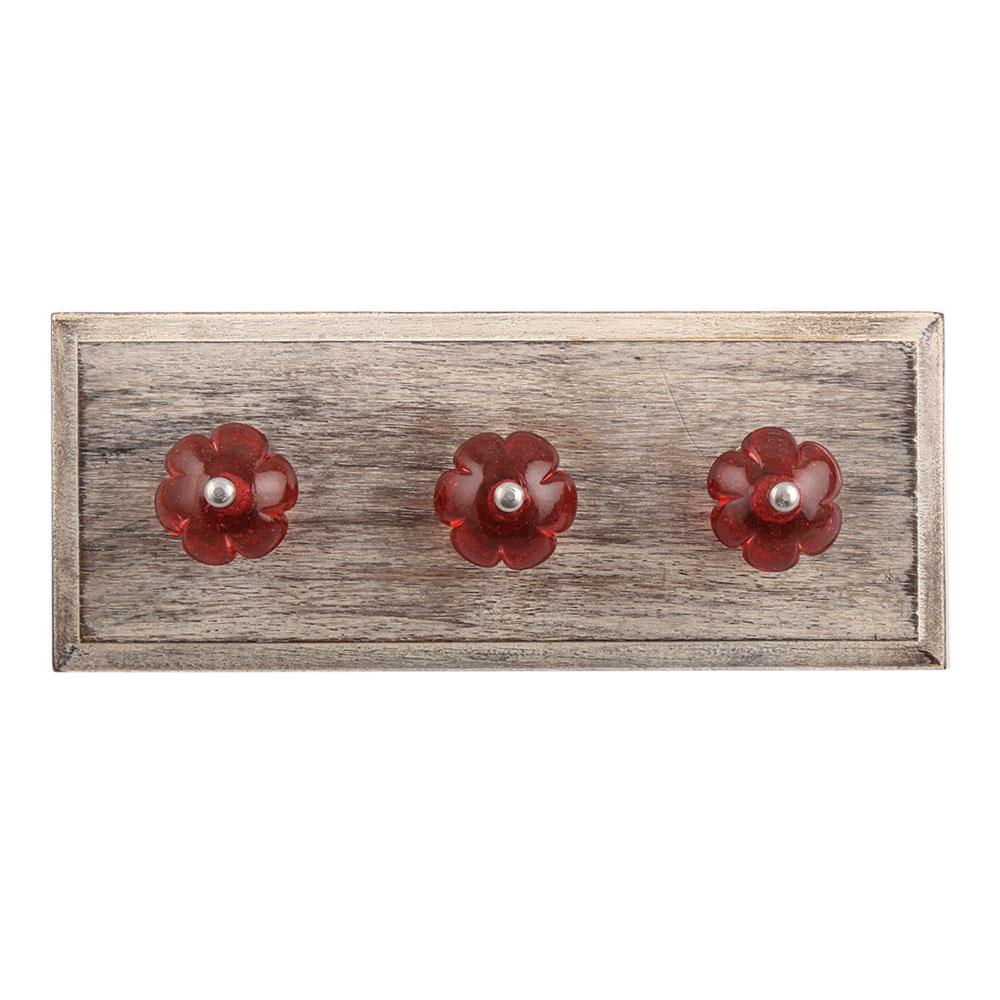 Queen Pink Melon Glass Wooden Hooks