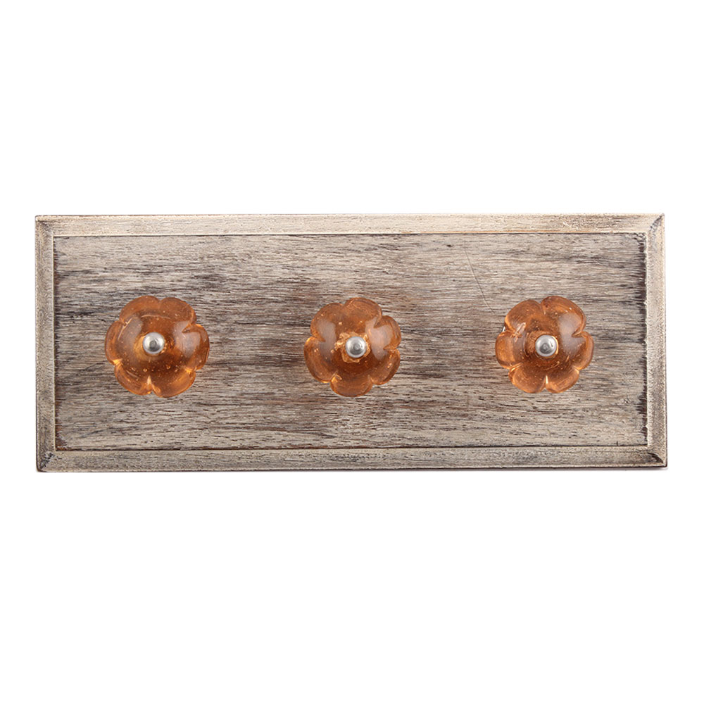 Pink Melon Glass Wooden Hooks