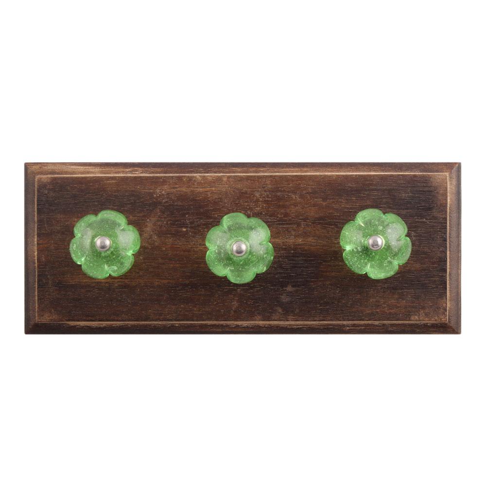 Green Melon Glass Wooden Hooks