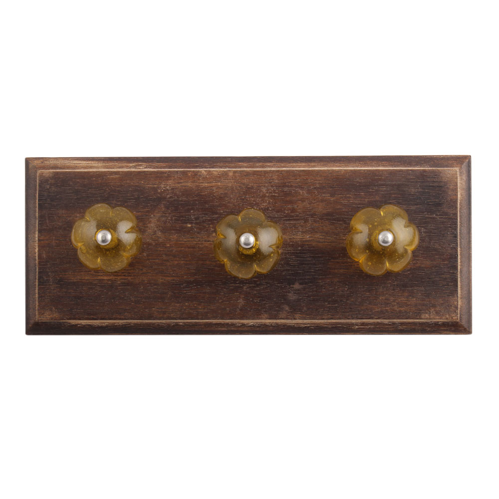Olive Melon Glass Wooden Hooks