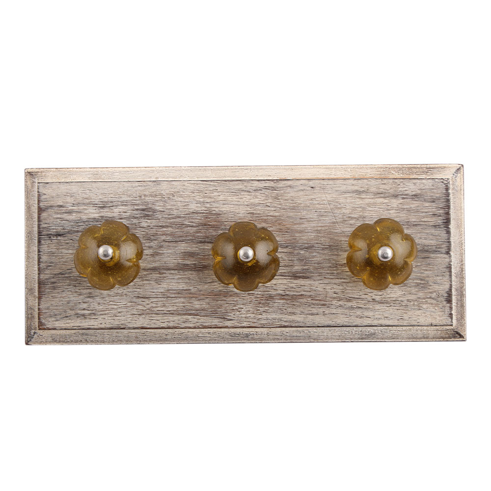 Olive Melon Glass Wooden Hooks