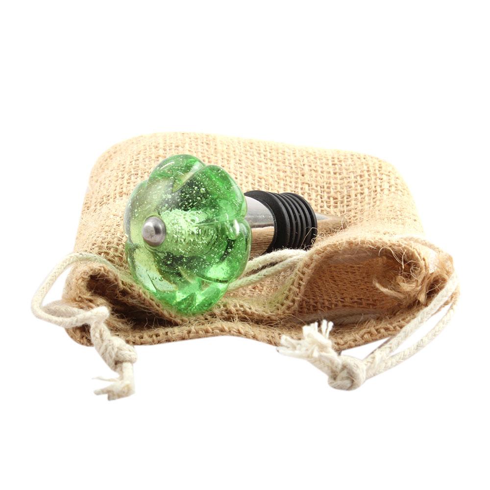 Green Melon Glass Wine Stopper