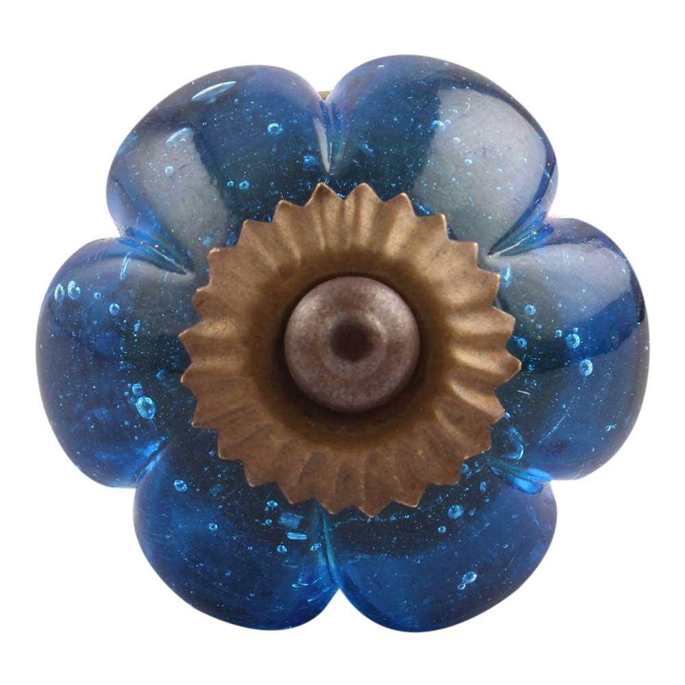 Royal Blue Melon Glass Cabinet Knob