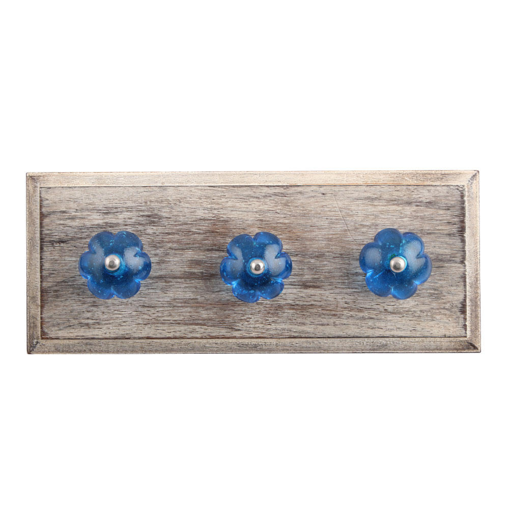 Royal Blue Melon Glass Wooden Hooks