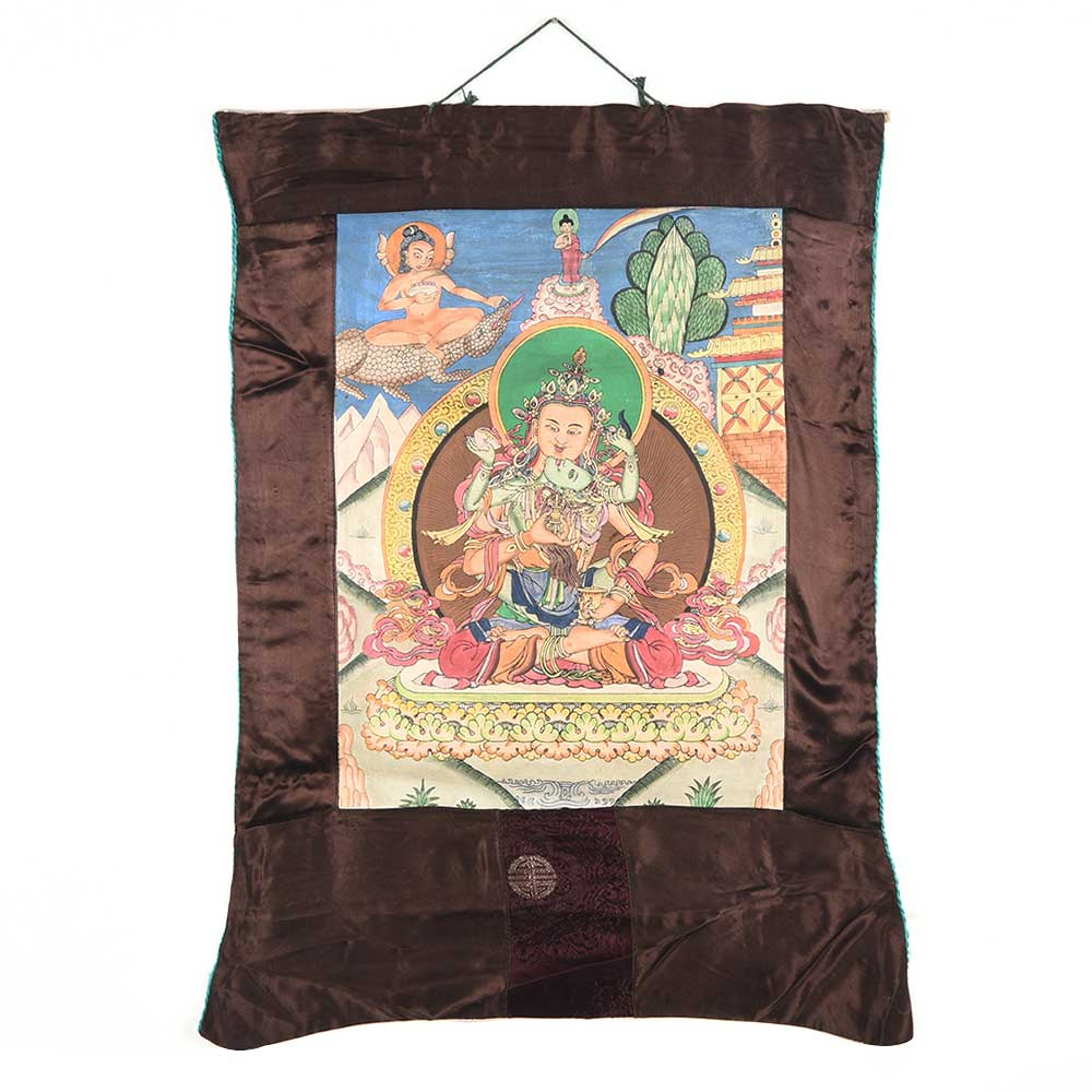 Thangka Painting Of Dorje Sambha In Union With His Consort