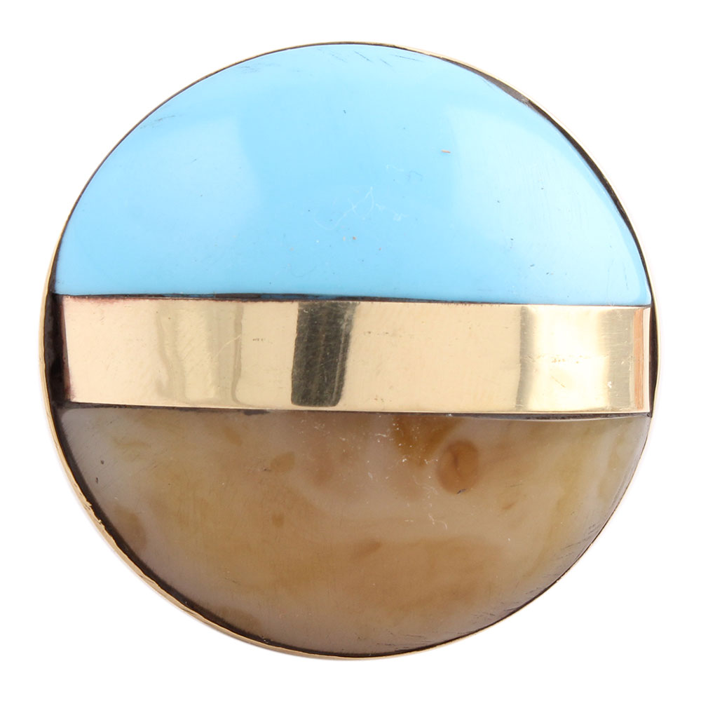 Turquoise Brown Brass Resin Knobs