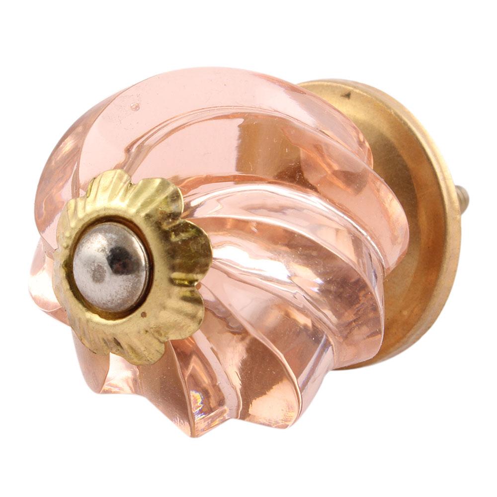 Peach Pink Interior Cut Glass Knobs