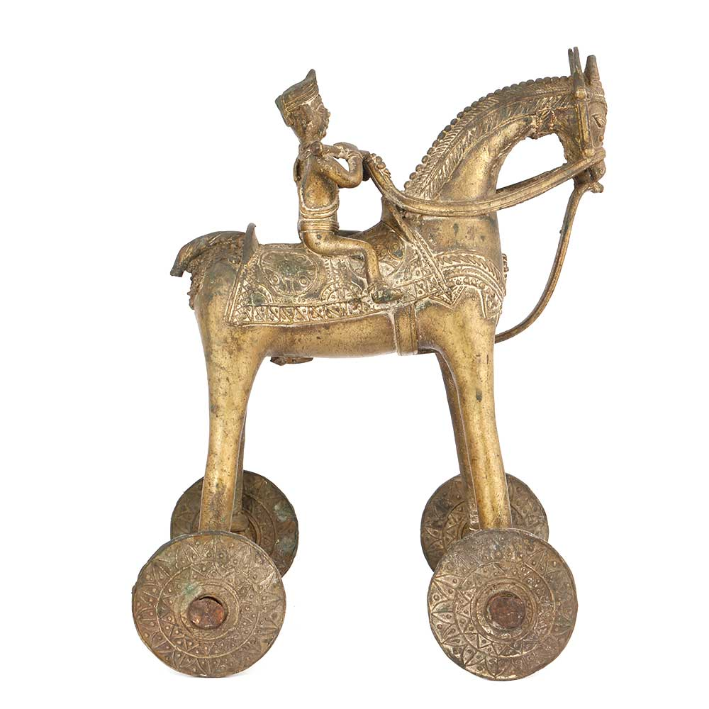Brass Rider on Horse Temple Toy with Wheels