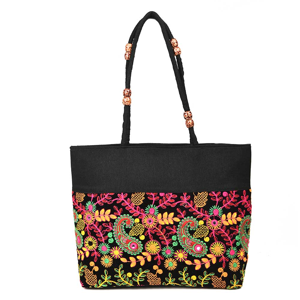 Boho Black Paiseley Embroidery Shoulder Bag