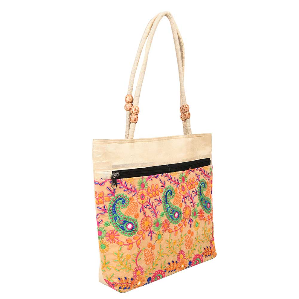 Boho Off White Paiseley Embroidery Shoulder Bag