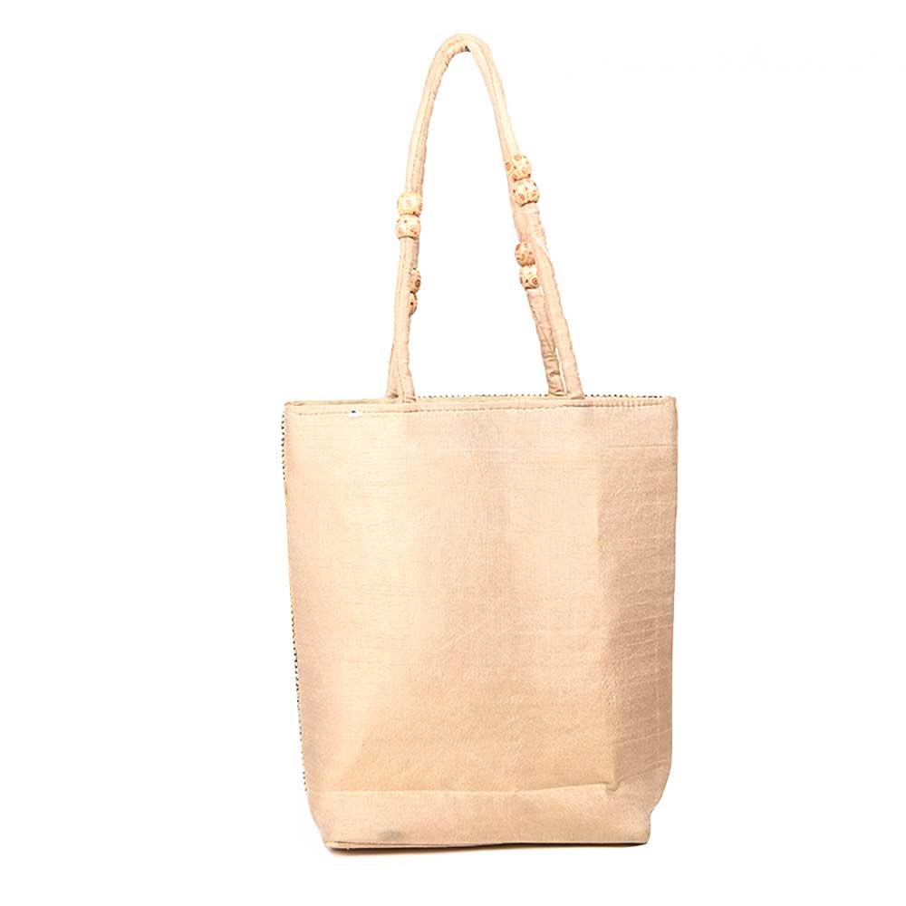 White Elephant Design Seed Beaded Hand Bag