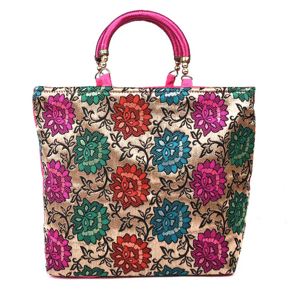 Floral Brocade Party Bag Pink Handbag