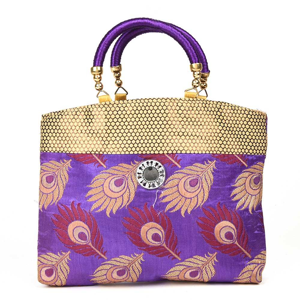 Purple Hand Bag - Peacock Feather with Zari