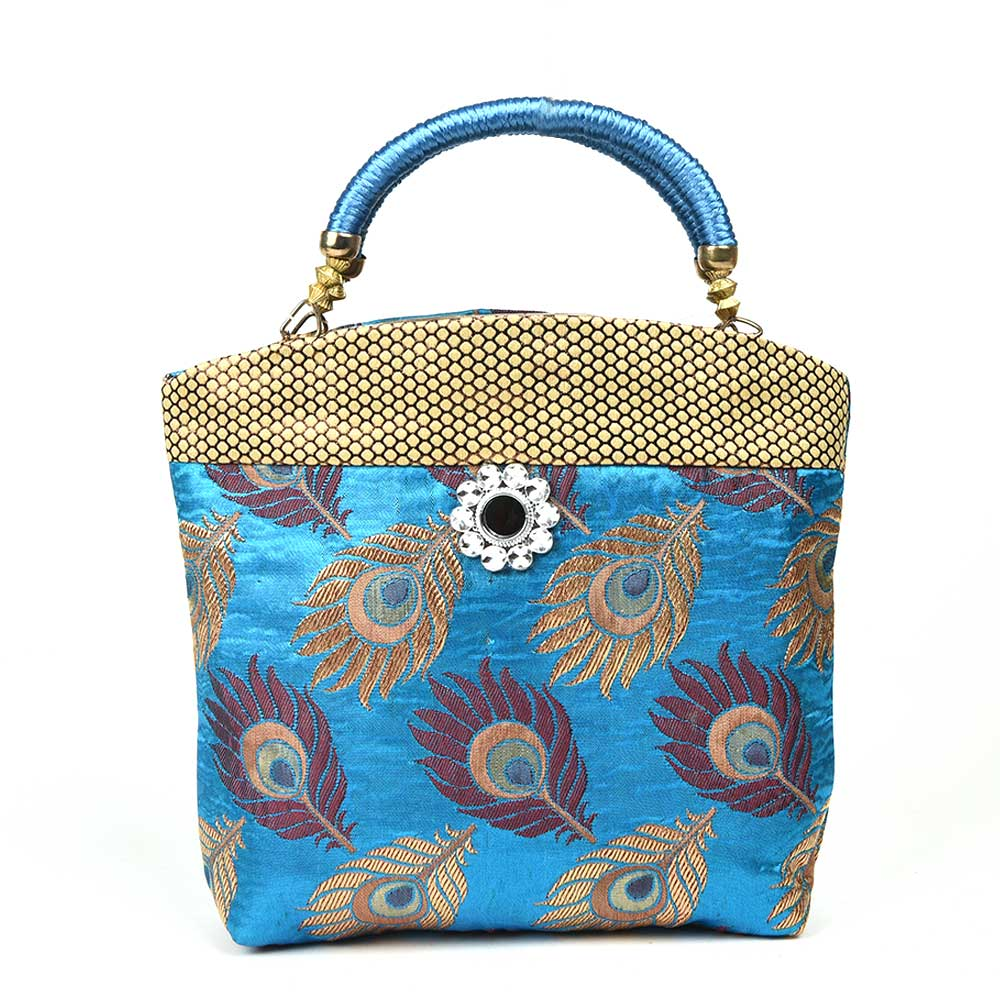 Sky Blue Hand Bag - Peacock Feather with Zari