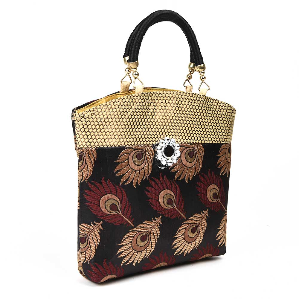 Black Hand Bag - Peacock Feather with Zari