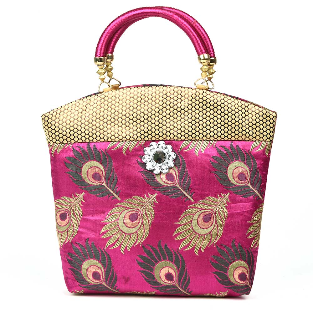 Pink Hand Bag - Peacock Feather with Zari