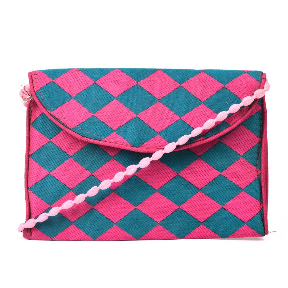 Pink Blue Checkered Handmade Cotton Bag