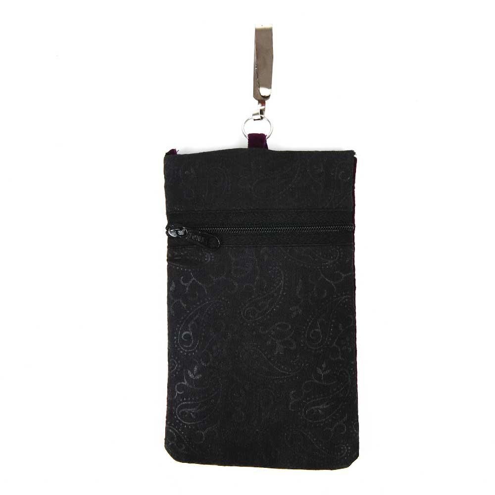 Brown Velvet Embroidered Coin Mobile Mini Shoulder Bag