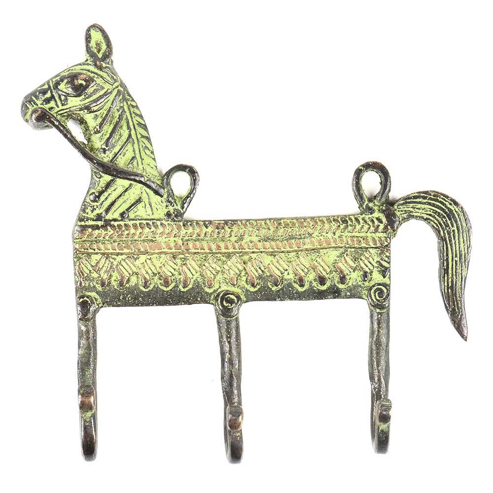 Vintage Style Brass Animal Horse Three Wall Hooks