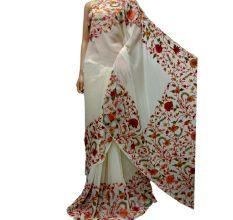 White Color Kashmiri Aari Work Embroidered Saree