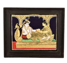 Tanjore Painting Radha Krishna with wooden frame