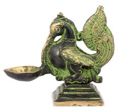 Peacock Holding Brass Oil Lamp Patina Finish