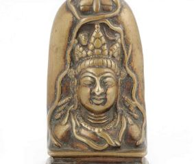 Brass Shiva & Parvati Head Hindu Traditional Wall Hanging