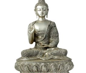 Silver Finish Half Lotus Pose Meditating Buddha Statue