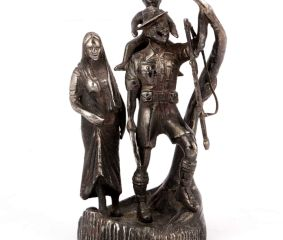 Bronze Solider with Family Statue
