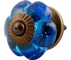 Royal Blue Melon Glass Cabinet Knob