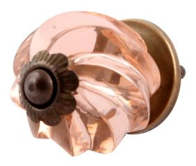 Peach Pink Interior Cut Glass Knobs