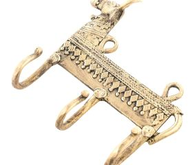 Dhokra Brass Cow Shaped Key 3 Wall Hooks