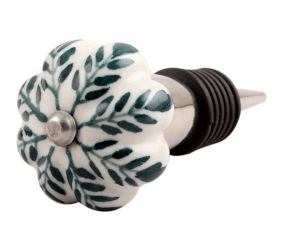 Green Leaf Medium Ceramic Wine Stopper