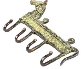 Vintage Style Brass Animal Horse Four Wall Hooks