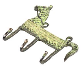 Vintage Style Brass Animal Horse Three Wall Hooks