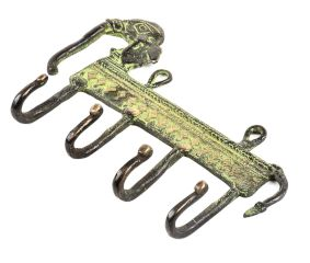 Bronze Tribal Elephant Four Wall Hooks